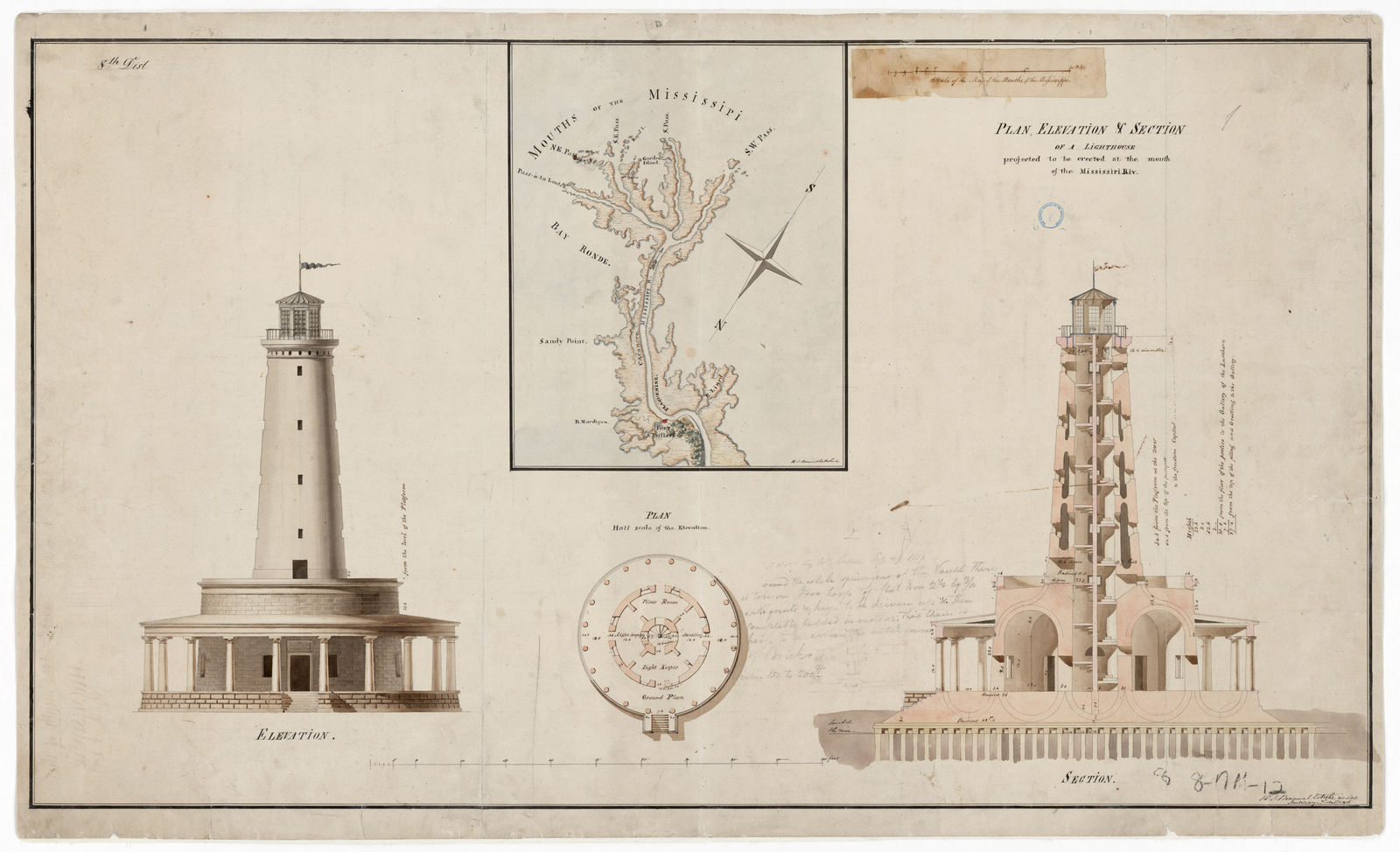 Drawing Showing the Proposed Lighthouse at the Mouth of the Mississippi River, Louisiana