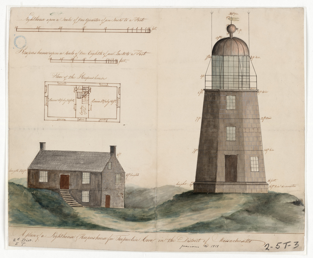 Elevation and Plan Drawing for the Lighthouse and Dwelling at Tarpaulin Cove, Massachusetts