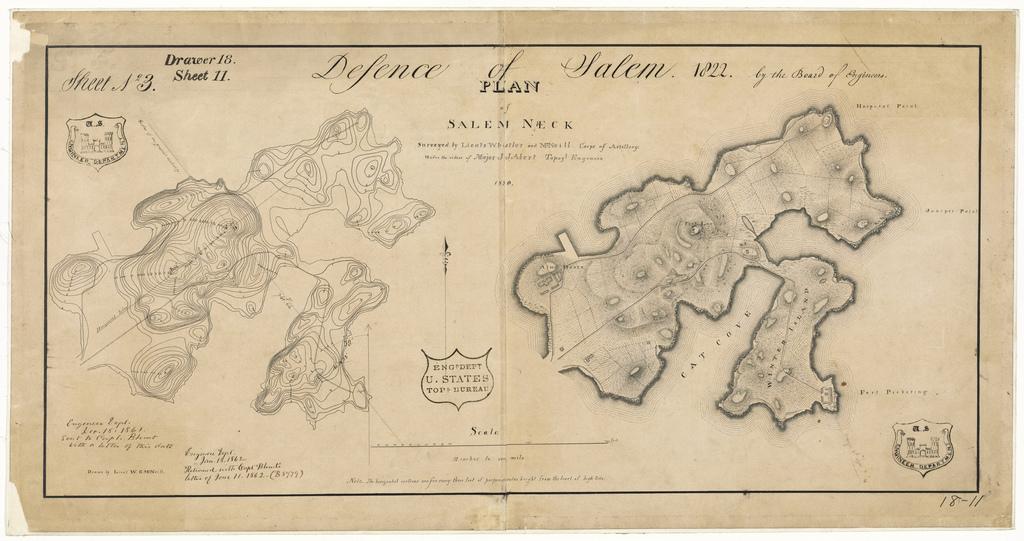 Map of Salem Neck Showing Defenses