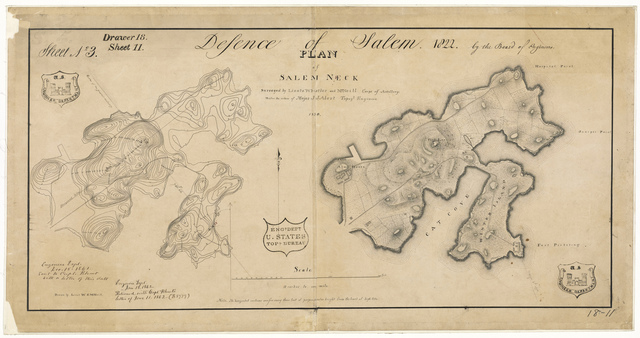 Map of Salem Neck Showing Defenses