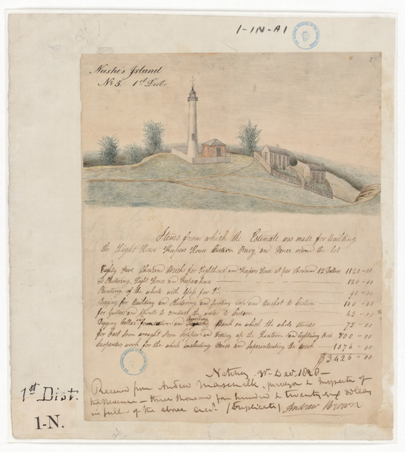 Drawing of the Lighthouse at Nash Island, Maine