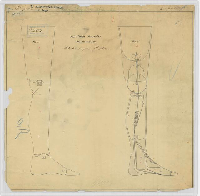 Patent Drawing for Jonathan Russell's Artificial Leg