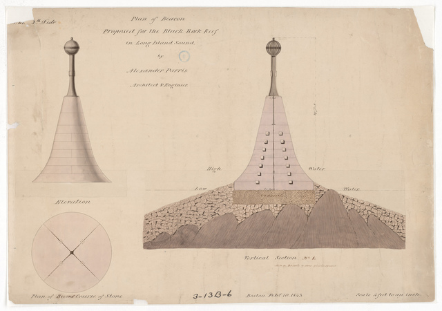 Drawing for the Proposed Black Rock Beacon, Connecticut