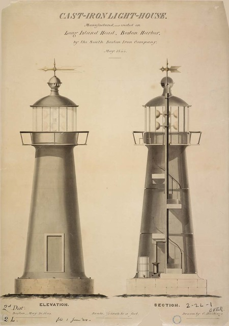 Elevation and Section of Cast Iron Lighthouse at Long Island Head, Massachusetts