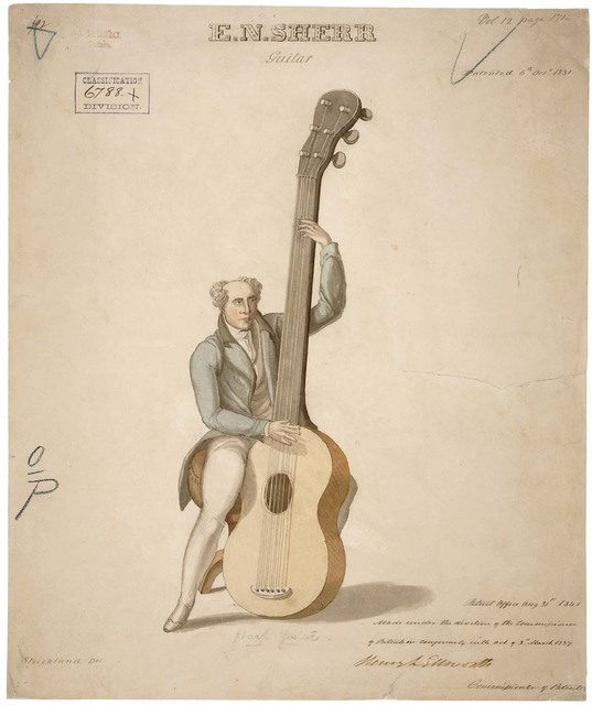 Drawing of a Harp Guitar