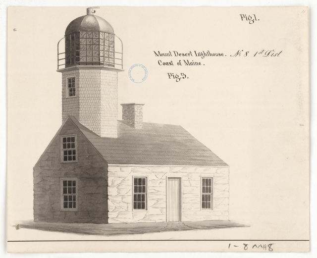 Drawing of the Lighthouse at Mount Desert, Maine