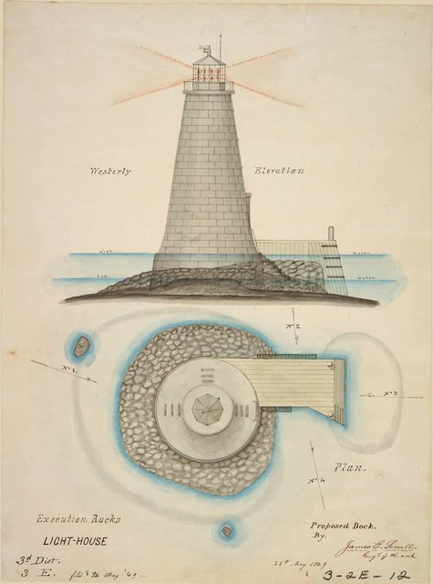 Elevation and Plan of Execution Rocks Lighthouse, New York