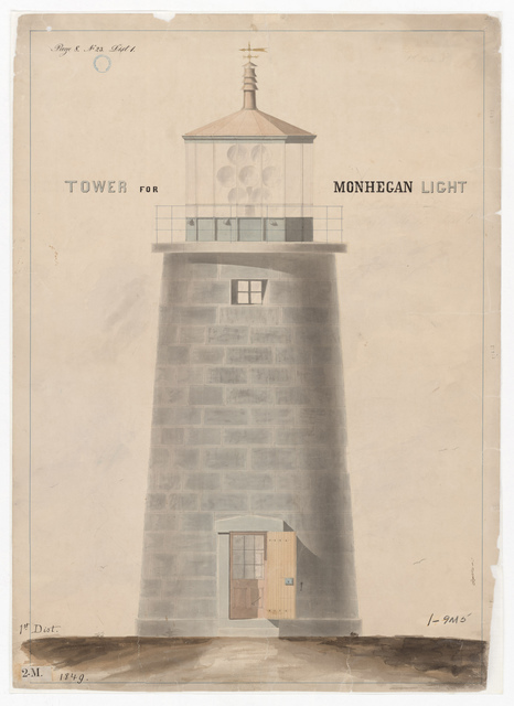 Elevation Drawing for the Lighthouse at Monhegan, Maine