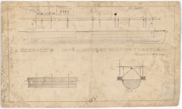 Abraham Lincoln's Patent Drawing for Improved Manner of Buoying Vessels