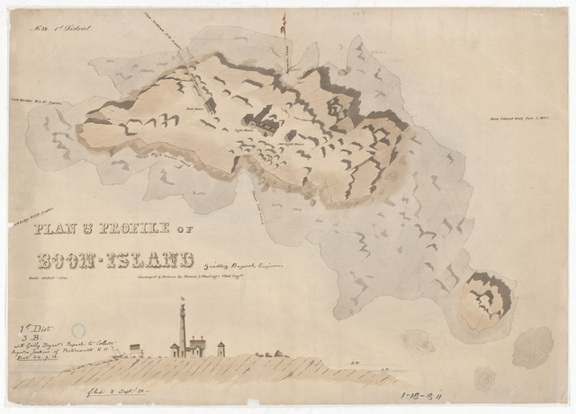 Plan and Profile of Boon Island and Lighthouse, Maine