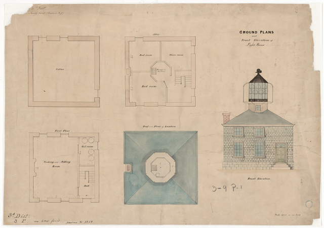 Elevation and Ground Plan for the Lighthouse at Sandy Point, Rhode Island