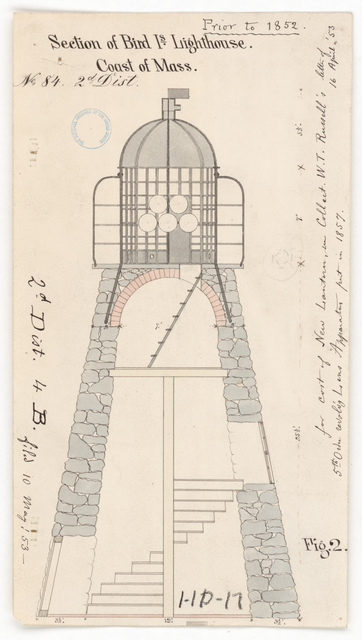 Section and Elevation Drawing for the Lighthouse at Bird Island, Massachusetts