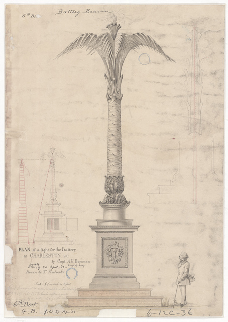 Drawing for a Proposed Battery Light for the Lighthouse at Morris Island, South Carolina