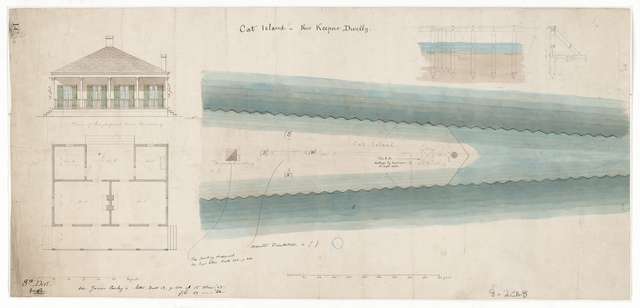 Elevation Drawing and Plan for the Proposed Lighthouse Dwelling at Cat Island, Mississippi
