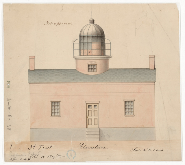 Front Elevation Drawing for the Lighthouse at Gardiner's Island, New York