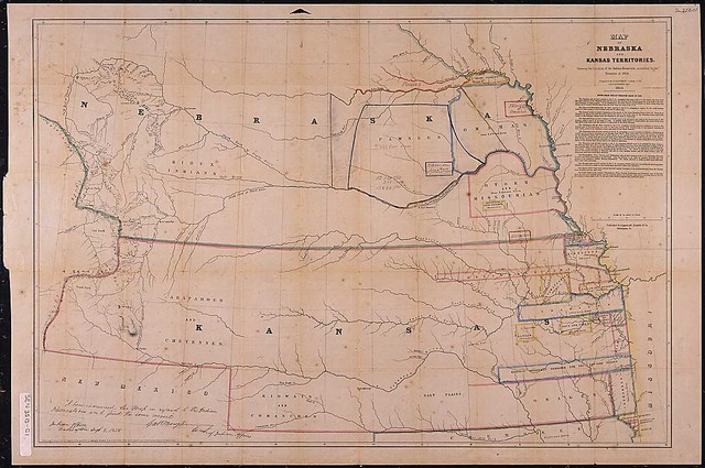 Map of Nebraska and Kansas Territories, showing the location of the Indian Reserves according to the treaties of 1854