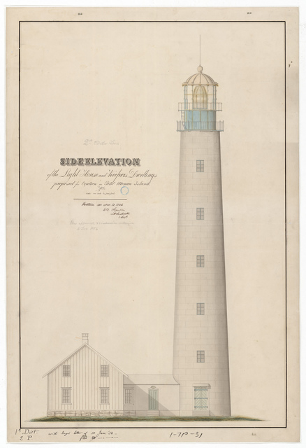 Side Elevation Drawing for the Lighthouse at Petit Manan, Maine