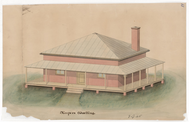 Drawing of the Lighthouse Keeper's Dwelling at Jupiter Inlet, Florida