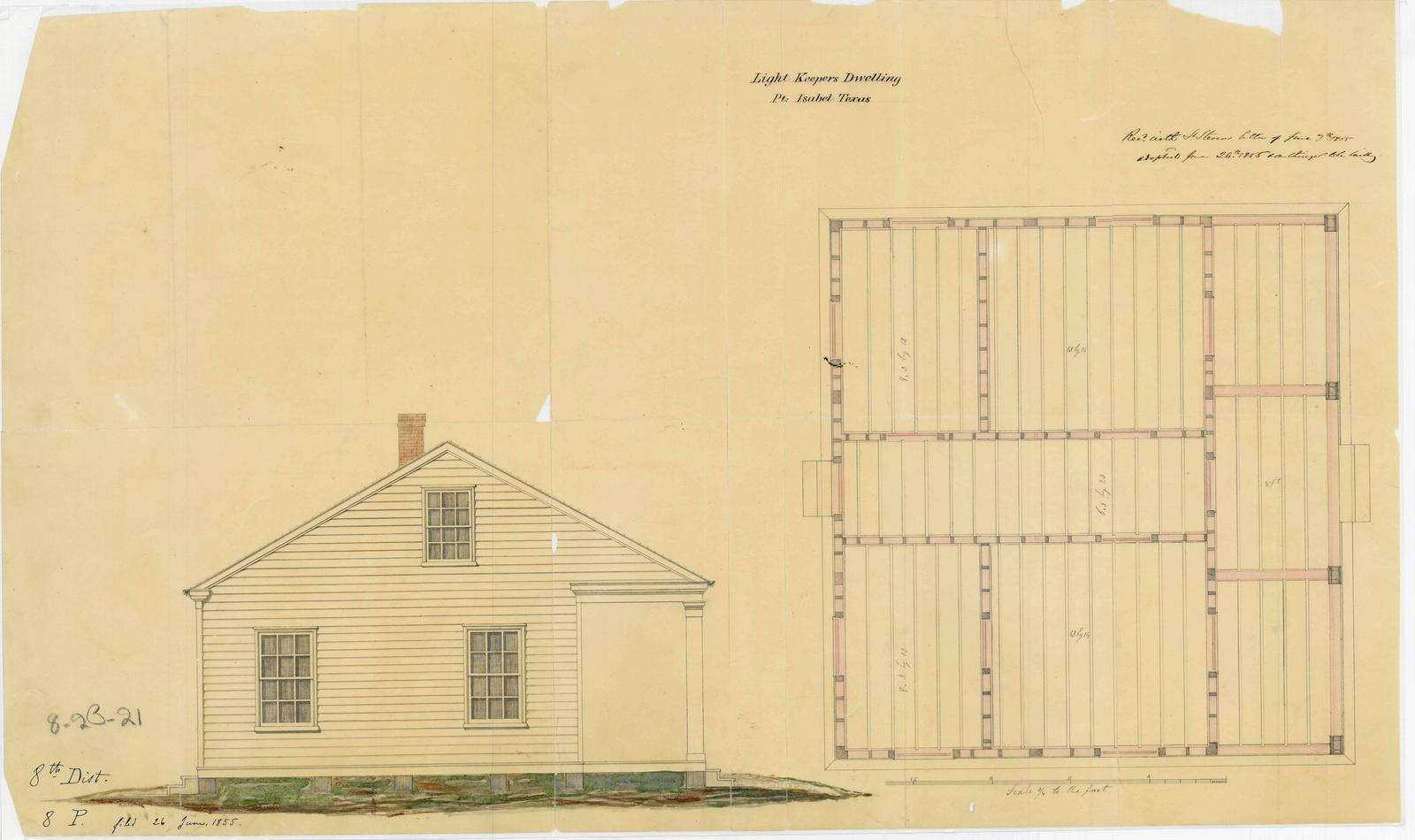 Elevation Drawing and Floor Plan for Light Keeper's Dwelling ... on history house, hunting island light keeper house, pet shop house, hamster house, photography house, first light house, dog kennel house,