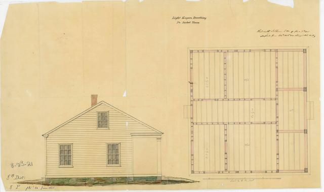 Elevation Drawing and Floor Plan for Light Keeper's Dwelling