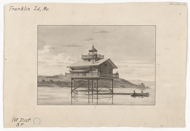 Drawing of the Franklin Island Lighthouse, Maine