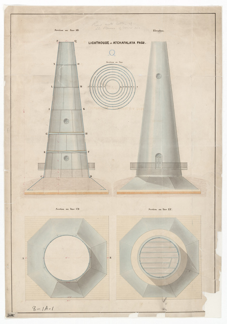 Section and Elevation Drawing for the Lighthouse at Atchafalaya Bay, Louisiana