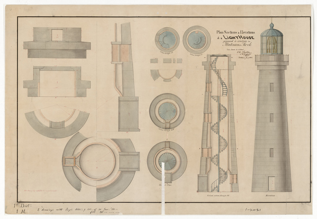 Section, Elevation and Plan Drawing for the Lighthouse at Matinicus, Maine