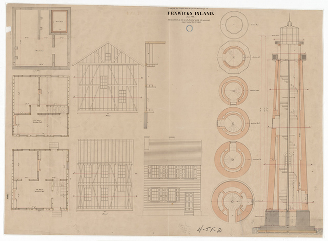 Drawing Showing the Design of the Lighthouse Tower and Dwelling at Fenwick Island, Delaware