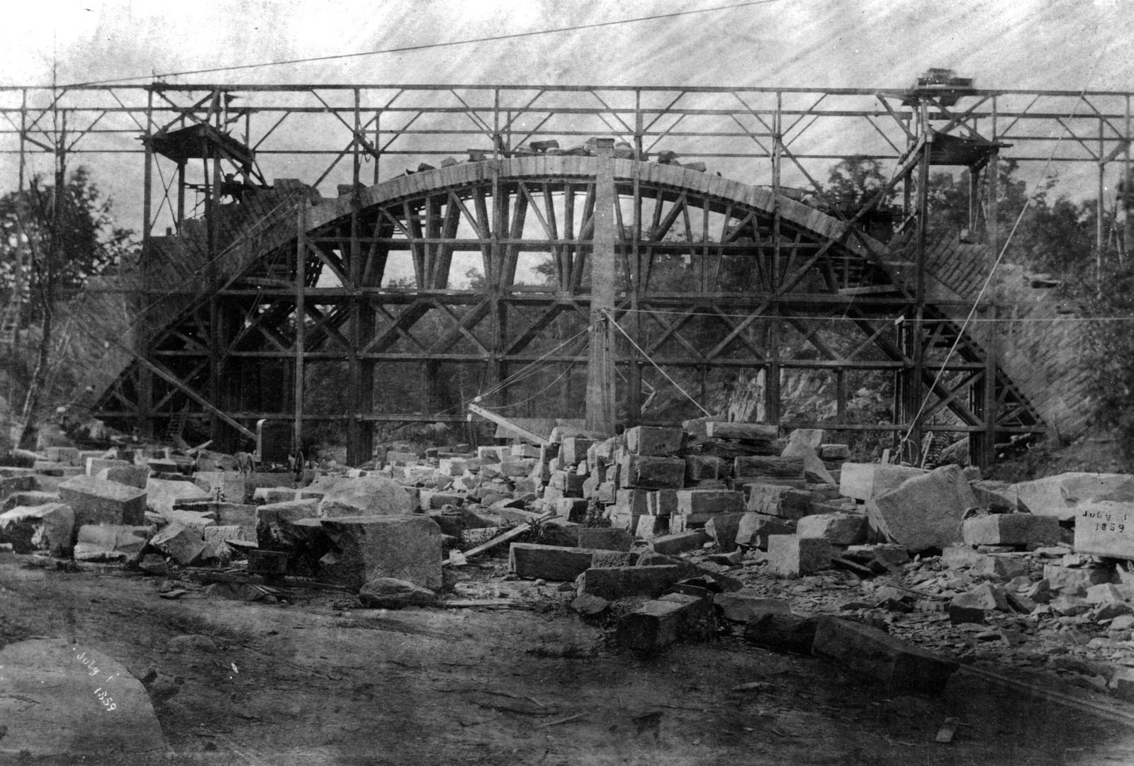 Photograph of the Construction of the Cabin John Bridge over Cabin John Creek, Originally Known as the Washington Aqueduct Bridge No. 4 in Maryland