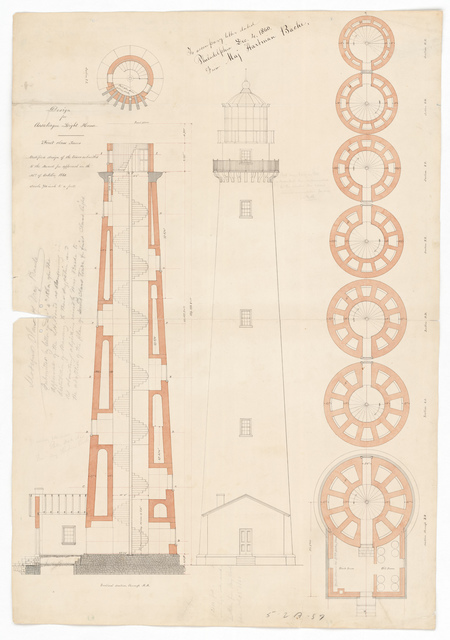 Section and Elevation Drawing for the Lighthouse at Assateague, Virginia