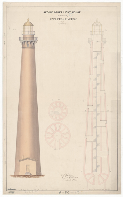 Section and Elevation Drawing for the Lighthouse at Cape Fear, North Carolina