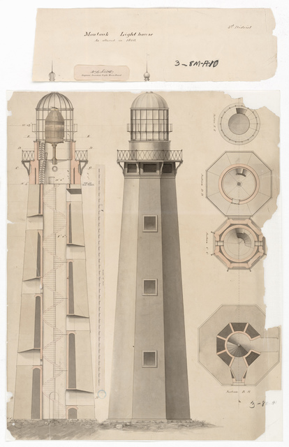 Section, Elevation and Plan Drawing for the Lighthouse at Montauk Point, NY
