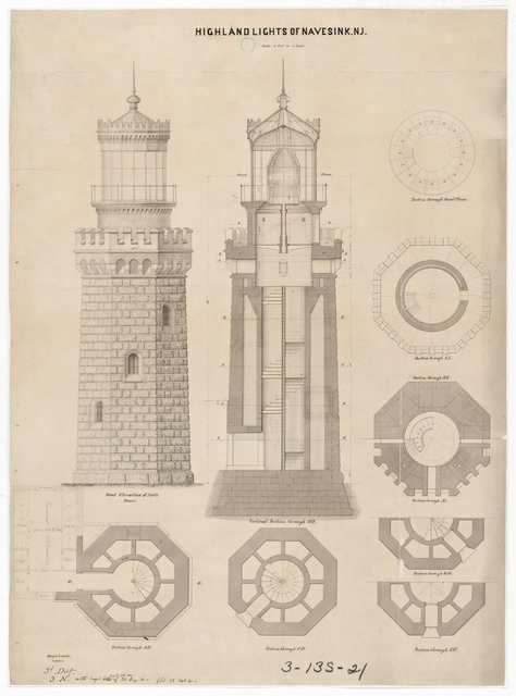 Section, Elevation and Plan Drawing for the North Tower of the Lighthouse at Navesink, New Jersey