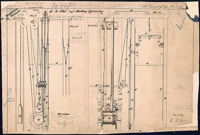 Elisha Otis's Elevator Patent Drawing