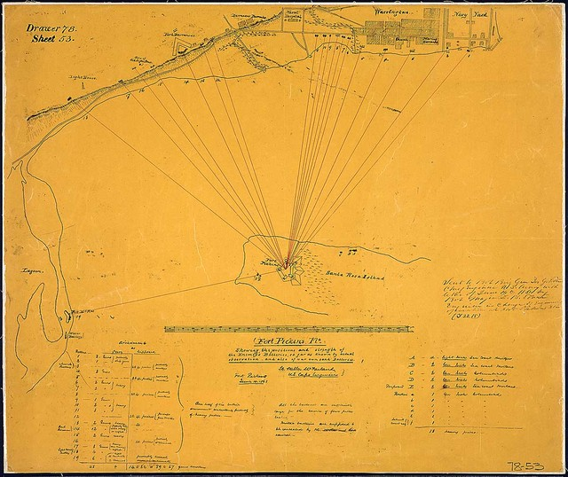 Fort Pickens, Fla., [and vicinity]. Showing the positions and strength of the Enemy's Batteries, so far as known by actual observation, and also of our own sand Batteries. [Signed] Lt. Walter McFarland, U. S. Corps Engineers, Fort Pickens, June 10, 1861.