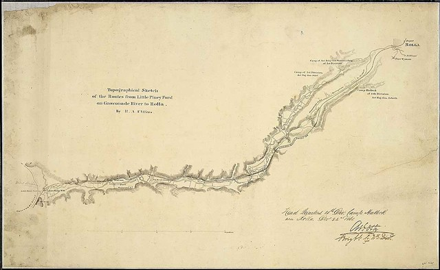 Topographical Sketch of the Routes from Little Piney Ford on Gasconade River to Rolla. By H. A. Ulffers.