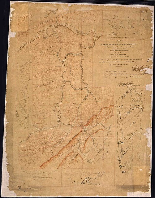 Map of Cumberland-Gap and Vicinity laid down from Surveys, made by Capt. Sidney S. Lyon, acting Topographical Engineer, under Order of Genl. G. W. Morgan, commd'g. 7th Div., Army of the Ohio. Showing the location of the works constructed by the enemy and those erected by the forces of the United States.
