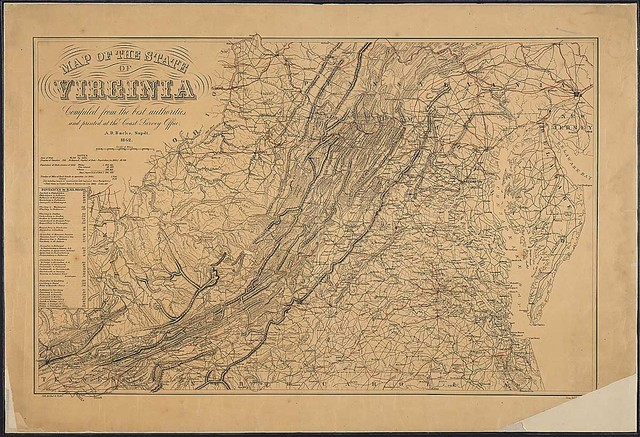 Map of the State of Virginia [and Maryland, Delaware, West Virginia, and parts of adjoining States]. Compiled [by W. L. Nicholson] from the best authorities and printed at the Coast Survey Office. A. D. Bache, Supdt., 1862.
