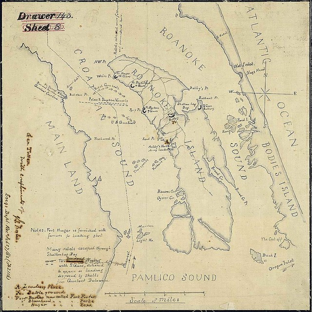 [Sketch of the action at Roanoke Island, N. C., February 8, 1862, showing Confederate defenses, positions of Federal and Confederate gunboats and Federal transports, the landing place, and the site of the battleground.]