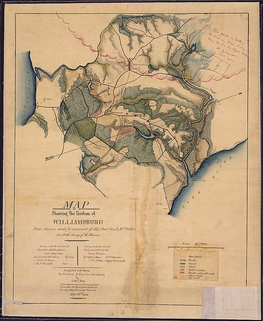Map Showing the Position of Williamsburg From Surveys made by command of Maj. Genl. Geo. B. McClellan, comd. the Army of the Potomac...Compiled and drawn By direction of Brig. Genl. Humphreys by Capt. J. Hope...May 30th, 1862.