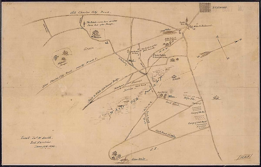 [Sketch map of White Oak Swamp and vicinity southeast of Richmond.]