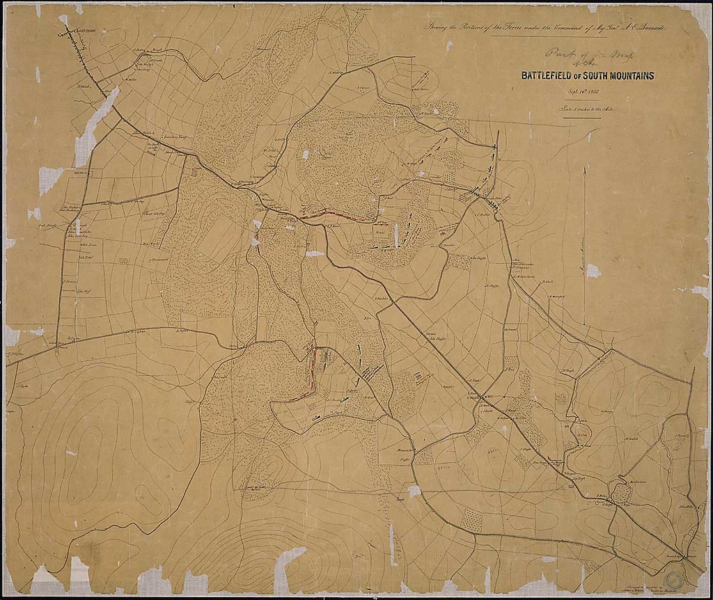 Part of the map of the Battlefield of South Mountains [sic], Sept. 14th, 1862. Shewing the Positions of the Forces under the Command of Maj. Genl. A. E. Burnside. Surveyed and Compiled by Arthur de Witzleben [and] Theodor [sic] von Kamecke.