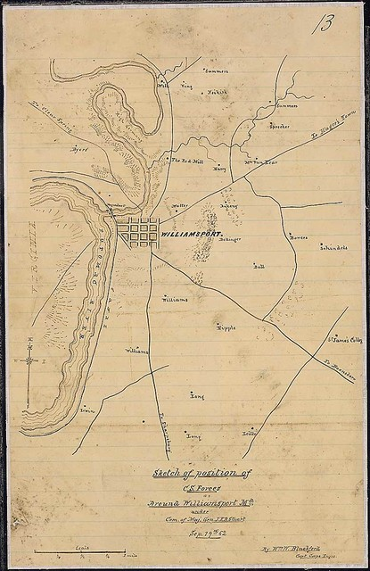 Sketch of the position of C. S. Forces Around Williamsport, Md., under Com. of Maj. Gen. J. E. B. Stuart, Sep. 19th, 62. By Wm. W. Blackford, Capt., Corps Engrs. [Confederate].