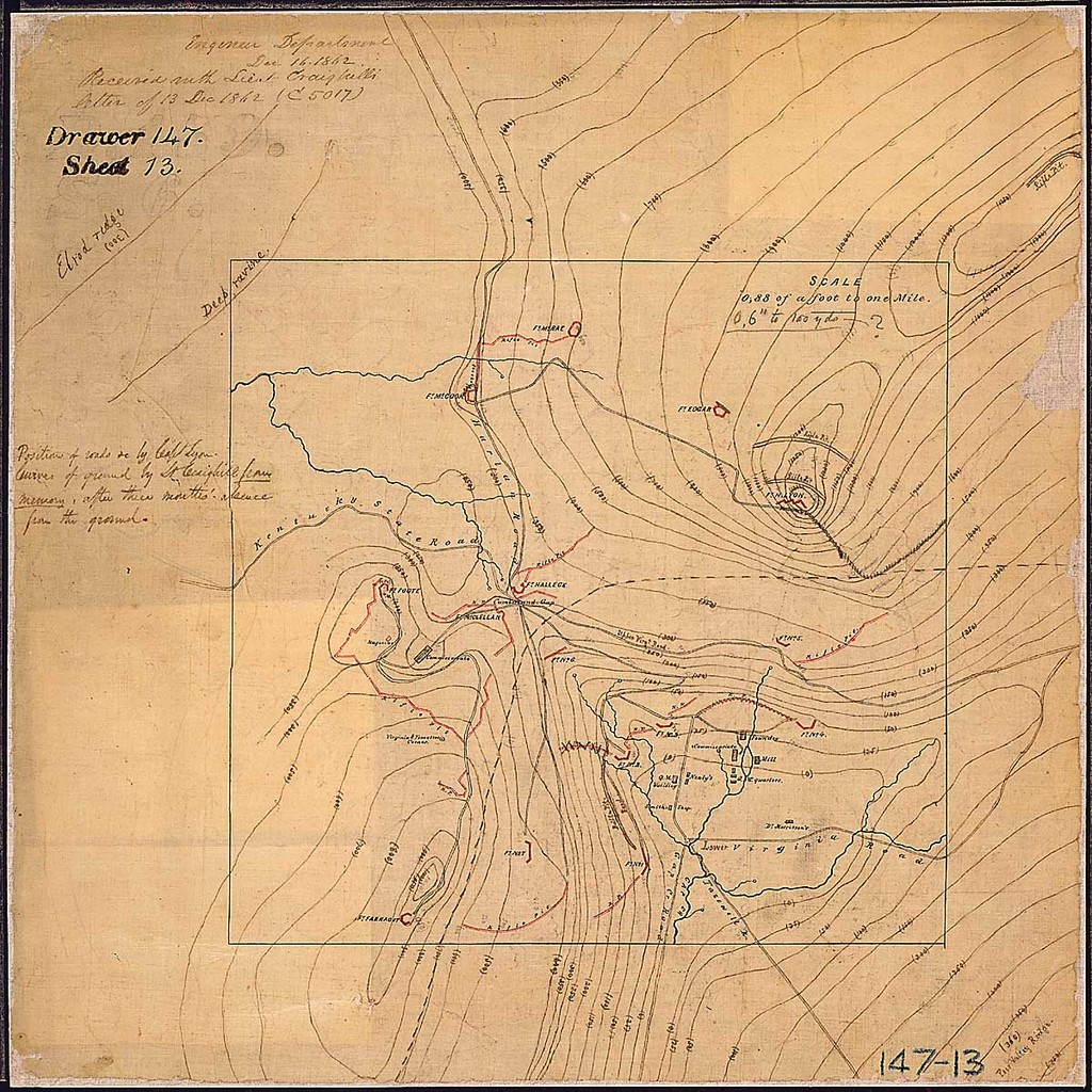 [Map of Cumberland Gap and surrounding area in Tennessee, Virginia, and Kentucky showing defenses, military installations, and roads.]