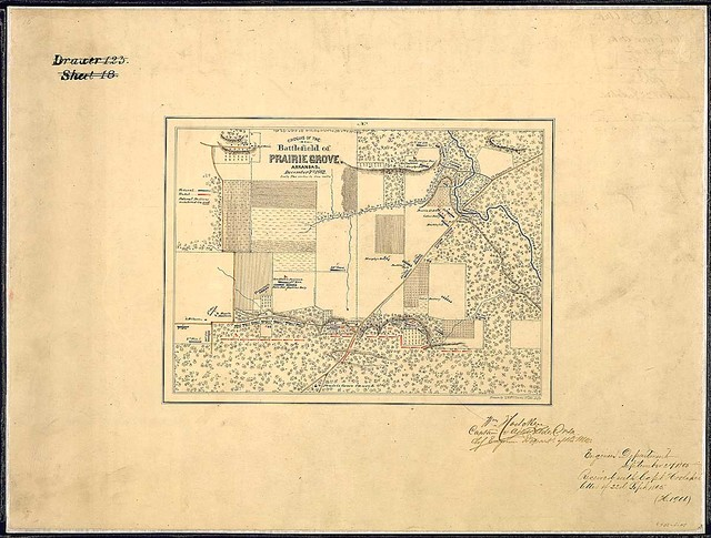 Croquis of the Battlefield of Prairie Grove, Arkansas. December 7th, 1862. Drawn by T. W. Williams, 15 Ills. Infy.
