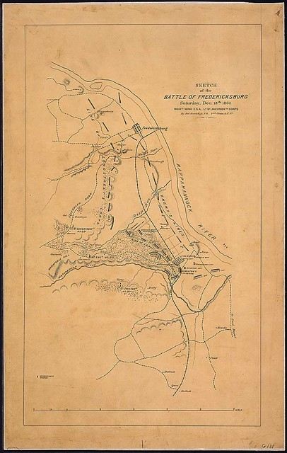 Sketch of the Battle of Fredericksburg, Saturday, Dec. 13th, 1862, [showing position of the ]Right Wing, C. S. A., Lt. Gl. Jackson's Corps, By Jed. Hotchkiss, T. E., 2nd Corps, A[rmy]. N[orthern]. Va., [Confederate].