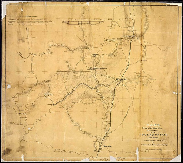 """""""Plate No. IV. Camp of the Right Wing, 13th Army Corps, on the Yocknapatafa [Yocona River], Decbr. 21st 1862. Surveyed under the Direction of 1st Lieut. Js. H. Wilson, Chief Topl. Engr."""""""