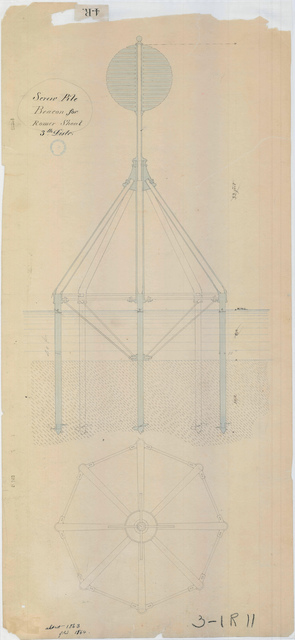 Drawing of the Screw Pile Beacon at the Romer Shoal Light Station, New York