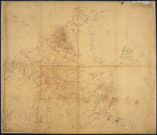 Map of Field of Occupation, Army of the Potomac, [from Dumfries south to Port Royal and west to Chancellorsville]. Prepared by order of Gen. Hooker from reconnoisances made under Capt. R. S. Williamson, Lt. N. Bowen, Gen. D. P. Woodbury, and others. Corrected April 10, 1863, [and signed] G. K. Warren, Brig. Genl., Vols.