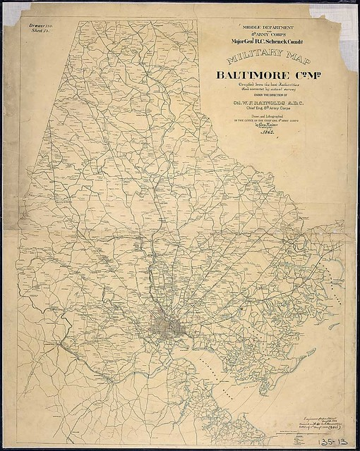 Military Map, Baltimore Co., Md., compiled from the best Authorities and corrected by actual survey under the direction of Col. W. F. Raynolds, A. D. C., Chief Eng., 8th Army Corps. Drawn and Lithographed in the Office of the Chief Eng., 8th Army Corps, by Geo. Kaiser, Pvt., 10th N. Y. Vols., 1863.